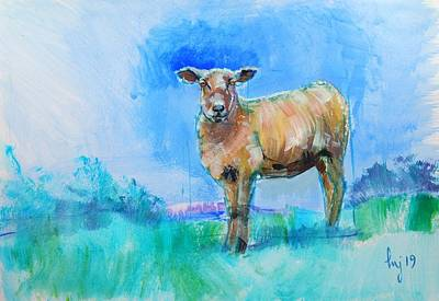 Painting - Sheep Painting With Bright Blue And Green Background by Mike Jory