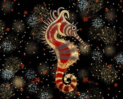 Fish Wall Art - Mixed Media - Shehorse Digital Addition2 by Joan Stratton