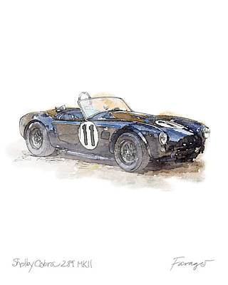 Drawing - Shelby AC Cobra 1964 by Peter Farago