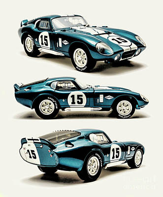 Watercolor City Skylines - Shelby Cobra Daytona by Jorgo Photography - Wall Art Gallery