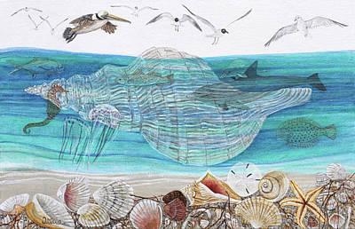 Flounder Painting - Shell Beach by Trena McNabb
