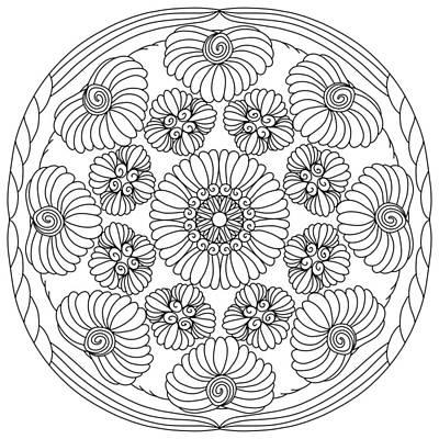 Drawing - Shell Floral Mandala by Kathy Sheeran