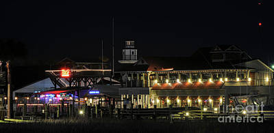 Photograph - Shem Creek At Night - Mount Pleasant by Dale Powell