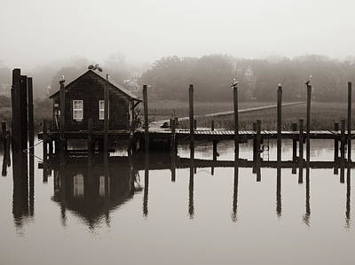 Photograph - Shem Creek Boathouse Fog by Donnie Whitaker