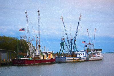 Digital Art - Shem Creek Boats III by Jon Glaser
