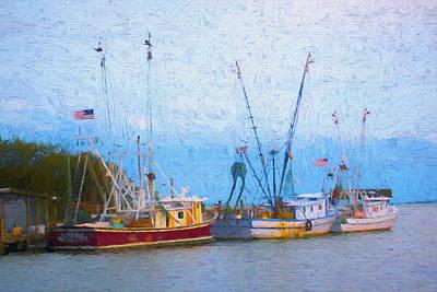 Digital Art - Shem Creek Boats V by Jon Glaser