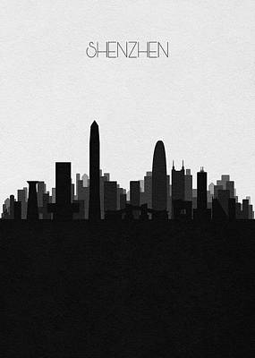Digital Art - Shenzhen Cityscape Art by Inspirowl Design