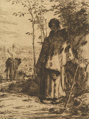 Relief - Shepherdess Knitting by Jean-Francois Millet