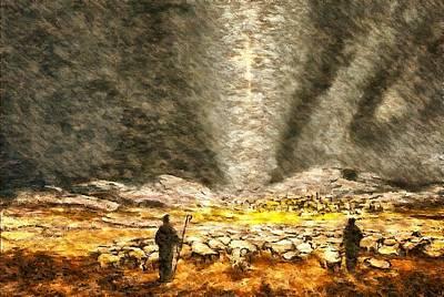 Digital Art - Shepherds Abiding In The Fields by Mario Carini