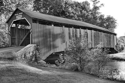 Photograph - Sherman Creek Enslow Covered Bridge Black And White by Adam Jewell
