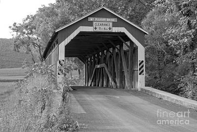 Photograph - Sherman Creek Mt. Pleasant Covered Bridge Black And White by Adam Jewell