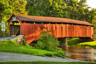 Photograph - Sherman Creek Under The Enslow Covered Bridge by Adam Jewell
