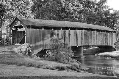 Photograph - Sherman Creek Under The Enslow Covered Bridge Black And White by Adam Jewell