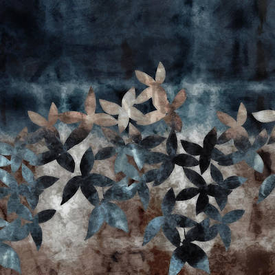 Digital Art - Shibori Leaves Indigo Print by Sand And Chi