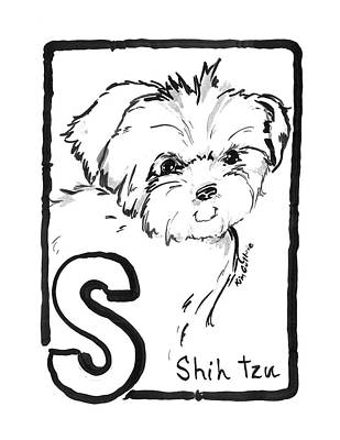 Wall Art - Painting - Shih Tzu Dog Black And White Painting by Kim Guthrie