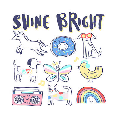 Drawing - Shine Bright - Baby Room Nursery Art Poster Print by Dadada Shop