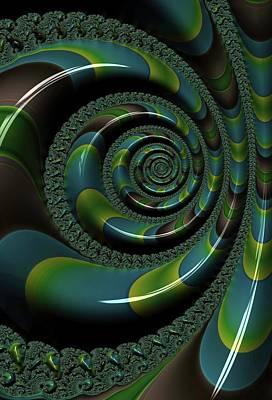 Digital Art - Shiny Blue Green Shell Fractal by Cindy Boyd
