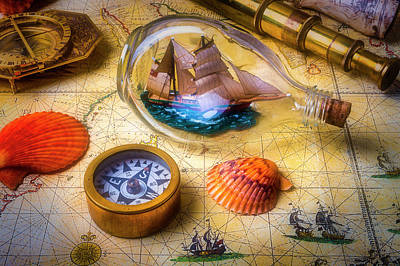 Photograph - Ship In A Bottle With Compass by Garry Gay