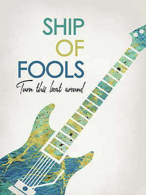 Robert Plant Wall Art - Digital Art - Ship Of Fools - Guitar by Flo Karp
