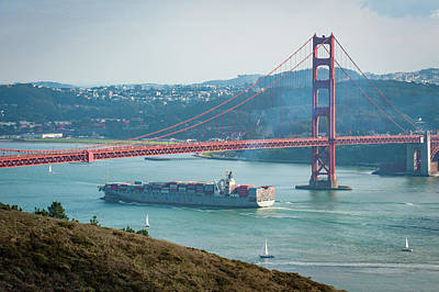 Photograph - Ship Under The Golden Gate Bridge by Mark Duehmig