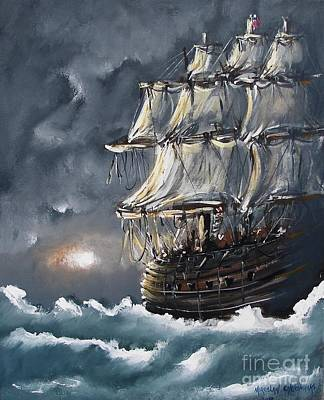 Painting - Ship Voyage by Miroslaw  Chelchowski