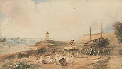 Drawing - Shipbuilding On The Yorkshire Coast by Peter De Wint