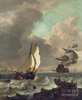 Painting - Shipping In A Stiff Breeze Off Dordrecht by Hendrick Rietschoof