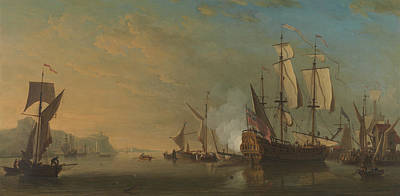 Painting - Shipping Off Dover by Samuel Scott