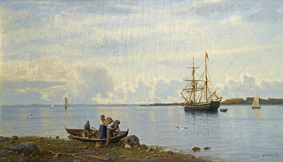 Painting - Ships In A Bay by Oscar Kleineh