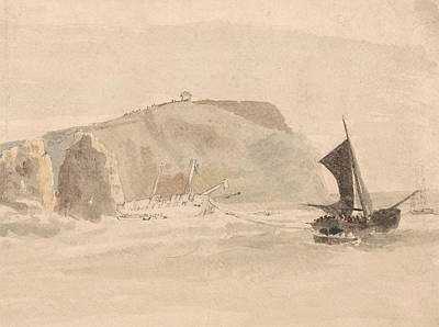 Drawing - Shipwreck Off The Needles, Isle Of Wight by Peter De Wint