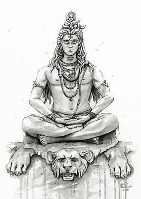 Black And White Art Painting - Shiva Portrait by Olga Shvartsur