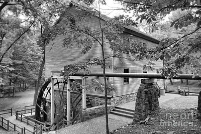 Photograph - Shoaff's Grist Mill Landscape Black And White by Adam Jewell