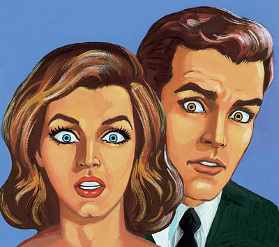 Blue Background Digital Art - Shocked Couple by Csa Images