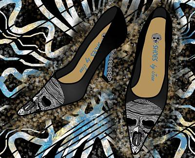 Drawing - Shoes By Joan Skull Black Pumps by Joan Stratton