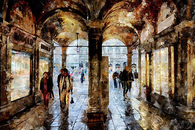 Digital Art - Shopping Area Of Saint Mark Square by Fine Art Photography Prints By Eduardo Accorinti
