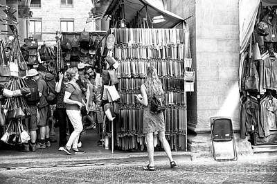 Photograph - Shopping For Leather At The Mercato Del Porcellino Florence by John Rizzuto