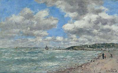 State Love Nancy Ingersoll Rights Managed Images - Shore of Deauville, 1896 Royalty-Free Image by Eugene Boudin