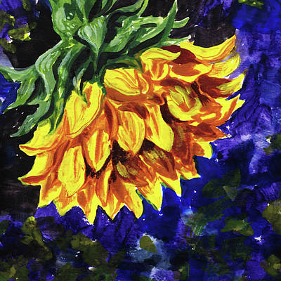 Painting - Shy Sunflower Floral Impressionism  by Irina Sztukowski