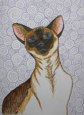Drawing - Siamese Cat With Swirls by Monique Montney