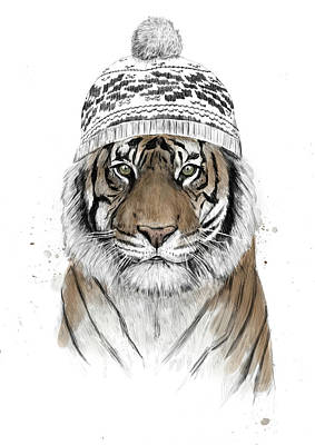 Funny Mixed Media - Siberian Tiger by Balazs Solti