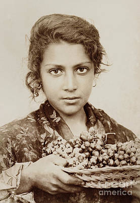 Photograph - Sicilian Girl With A Bunch Of Grapes by Wilhelm Von Gloeden