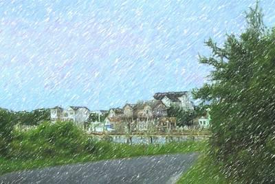 Thomas Kinkade Rights Managed Images - Side Street At Ocracoke 2 Royalty-Free Image by Cathy Lindsey