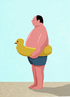 Digital Art - Side View Of Man Wearing Inflatable by Malte Mueller