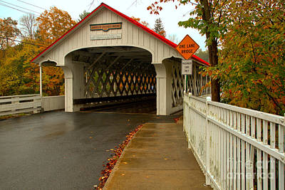 Photograph - Sidewalk To The Ashuelot Covered Bridge by Adam Jewell
