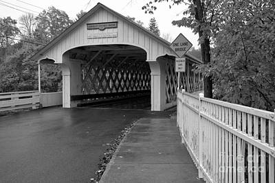 Photograph - Sidewalk To The Ashuelot Covered Bridge Black And White by Adam Jewell