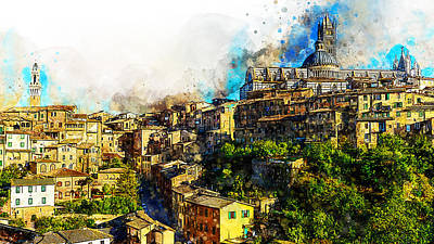 Painting - Siena, Cityscape - 02 by Andrea Mazzocchetti