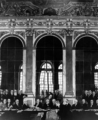 Photograph - Signing The Treaty Of Versailles by Hulton Archive