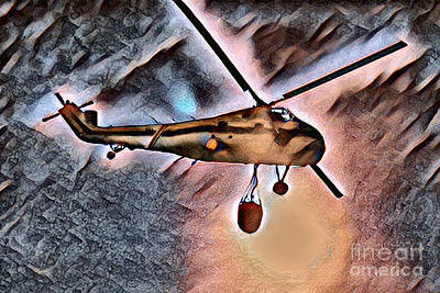 Surrealism Royalty-Free and Rights-Managed Images - Sikorsky H-34 Choctaw Helicopter in Surreal Fantasy Flight by Wernher Krutein