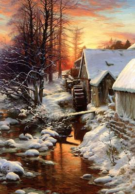 Joseph Farquharson Wall Art - Painting - Silence Of The Snow Bucket Mill On The Feugh Finzean by Farquharson Joseph