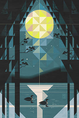 Loons Wall Art - Digital Art - Silent Night Over Houghton Lake Michigan by Garth Glazier